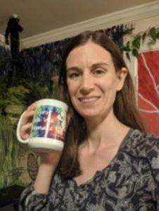 Sarah with a mug
